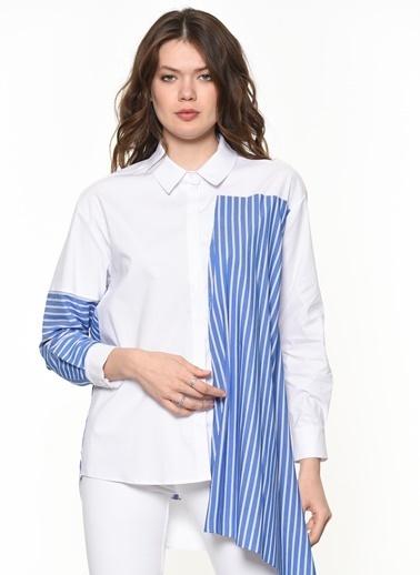 Si Design Çizgili Gömlek Beyaz